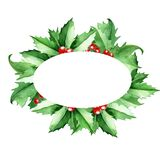 Watercolor oval frame made of Christmas leaves and holly berries. christmas clipart, frame for congratulations, postcards. new yea