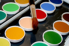 Watercolor paint box Royalty Free Stock Image
