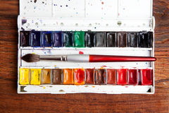 Watercolor paint box Stock Photo