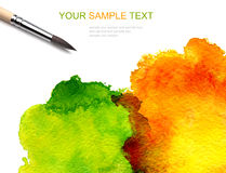 Watercolor paint and brash Stock Photo