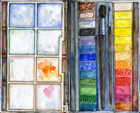 Watercolor paint and brush. Paint and brush. Watercolor illustration Royalty Free Stock Photo