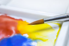 Watercolor paint brush on a white palette Stock Image