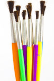 Watercolor paint brushes Stock Photos