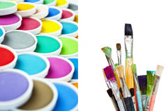 Watercolor paint and brushes Stock Images