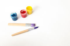 Watercolor paint and brushes isolated on white background. Art palette with paints. Colorful paint Royalty Free Stock Photo