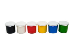 Watercolor paint in buckets isolated on white background. Art pa. Lette. Colorful paint. Gouache in the jar Stock Photography