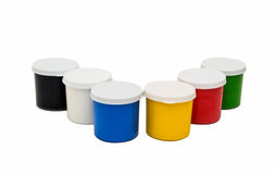 Watercolor paint in buckets isolated on white background. Art pa Royalty Free Stock Images