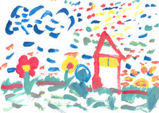 Watercolor paint by a Child Stock Photo