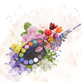 Watercolor Paint and Flowers Royalty Free Stock Image