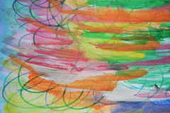 Watercolor paint hues, pen lines, orange green background Royalty Free Stock Images