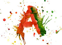 Watercolor paint - letter A Royalty Free Stock Photography