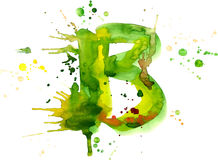 Watercolor paint - letter B Royalty Free Stock Images