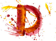 Watercolor paint - letter D Stock Photos