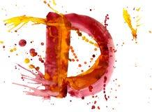 Watercolor paint - letter D vector illustration
