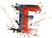 Watercolor paint - letter F Stock Photos