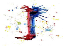 Watercolor paint - letter I Stock Photo