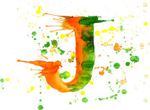 Watercolor paint - letter J Royalty Free Stock Image