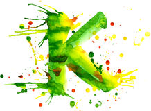 Watercolor paint - letter K Royalty Free Stock Images