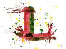 Watercolor paint - letter L Stock Photo