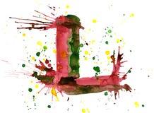 Watercolor paint - letter L vector illustration