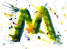 Watercolor paint - letter M Royalty Free Stock Photos
