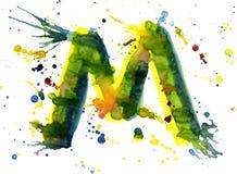 Watercolor paint - letter M stock illustration