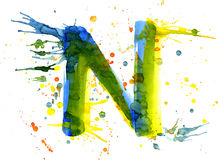 Watercolor paint - letter N Stock Photos
