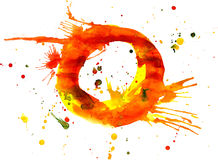 Watercolor paint - letter O Stock Photos