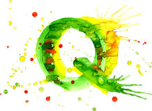 Watercolor paint - letter Q Royalty Free Stock Photography