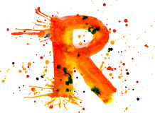 Watercolor paint - letter R Stock Image