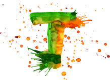 Watercolor paint - letter T stock illustration