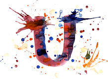 Watercolor paint - letter U Royalty Free Stock Photography