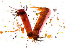 Watercolor paint - letter V Stock Photography