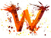 Watercolor paint - letter W Stock Photography