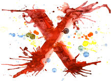 Watercolor paint - letter X Stock Photos