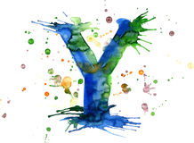 Watercolor paint - letter Y Stock Photo