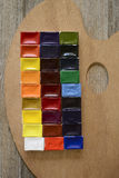 Watercolor paint and palette Stock Photo