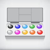 Watercolor paint set with art brush, isolated on white backgroun Royalty Free Stock Photos