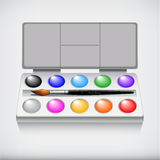 Watercolor paint set with art brush, isolated on white background Royalty Free Stock Image