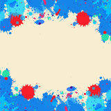 Watercolor paint splashes frame Stock Photos