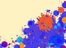 Watercolor paint splashes frame. Dark blue and orange artistic paint splashes frame with room for text, horizontal format Stock Photo