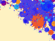 Watercolor paint splashes frame. Dark blue and orange artistic paint splashes frame with room for text, horizontal format Royalty Free Stock Image