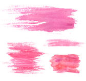 Watercolor paint stains. Pink strokes and blots. Set of artistic textures Stock Photography