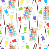 Watercolor, paint in tubes and brush seamless pattern, art background. Vector multicolored art supplies Stock Images