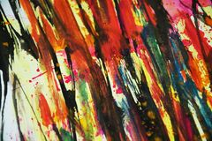 Watercolor hard vivid colors, contrasts, waxy paint creative background. Watercolor paint vivid hard colors, contrasts, blurred vivid watercolor texture in dark Stock Image