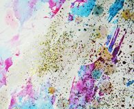 Watercolor paint vivid waxy colorful shapes and sparkling lights, abstract background Royalty Free Stock Photography