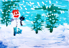 Watercolor paint. Winter forest with snowman Royalty Free Stock Photos