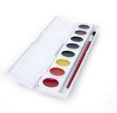Watercolor paintbox Stock Image