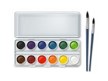 Watercolor and paintbrushes Stock Photography