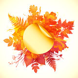 Watercolor painted autumn leaves banner with Royalty Free Stock Photos